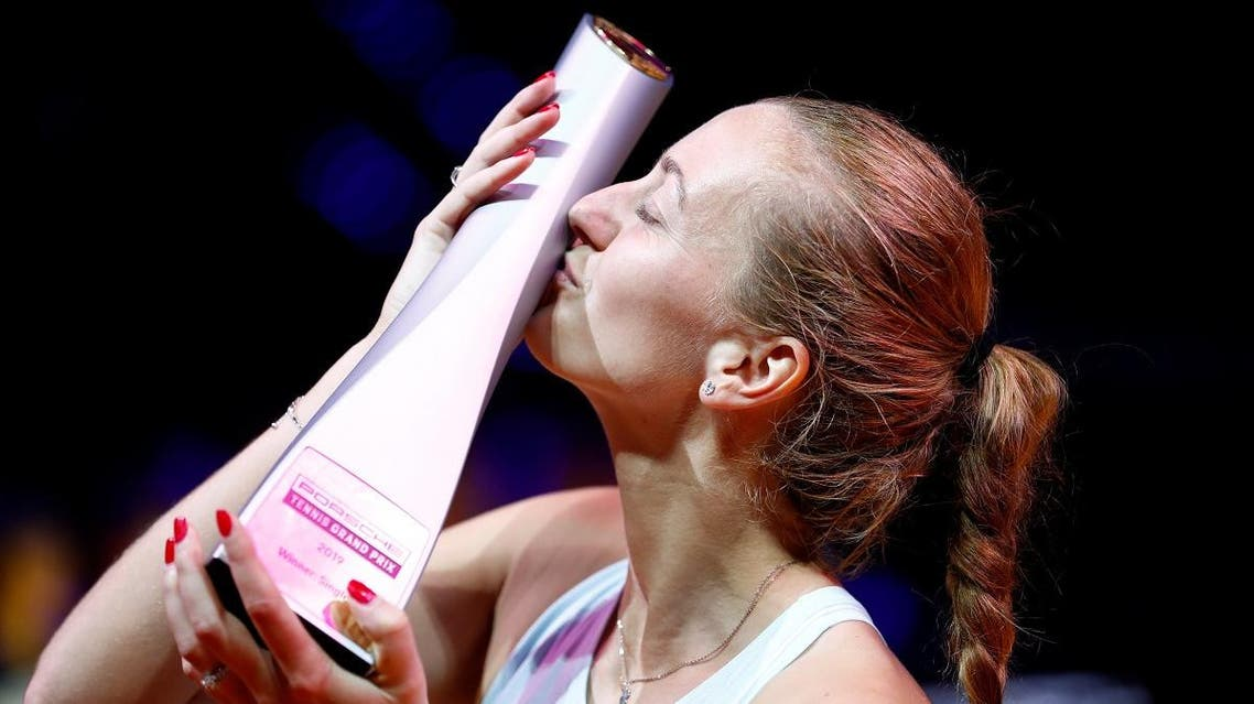Czech Republic's Petra Kvitova celebrates with the trophy after the winning the Stuttgart Tennis Grand Prix on April 28, 2019. (Reuters)