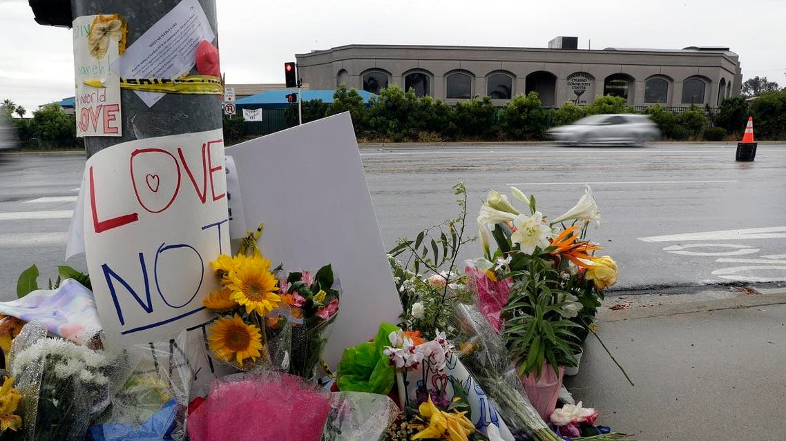 Signs of support and flowers adorn a post in front of the Chabad of Poway synagogue, Monday, April 29, 2019, in Poway, Calif. (AP)