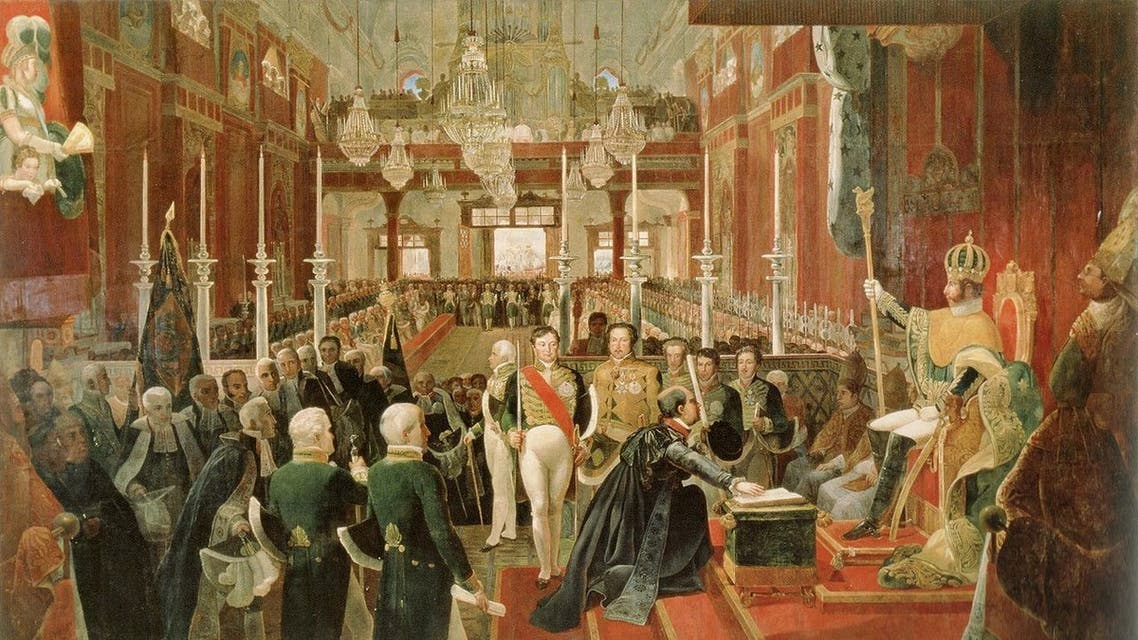 لوحة تجسد مراسم تتويج بيدرو الأول إمبراطورا على البرازيل