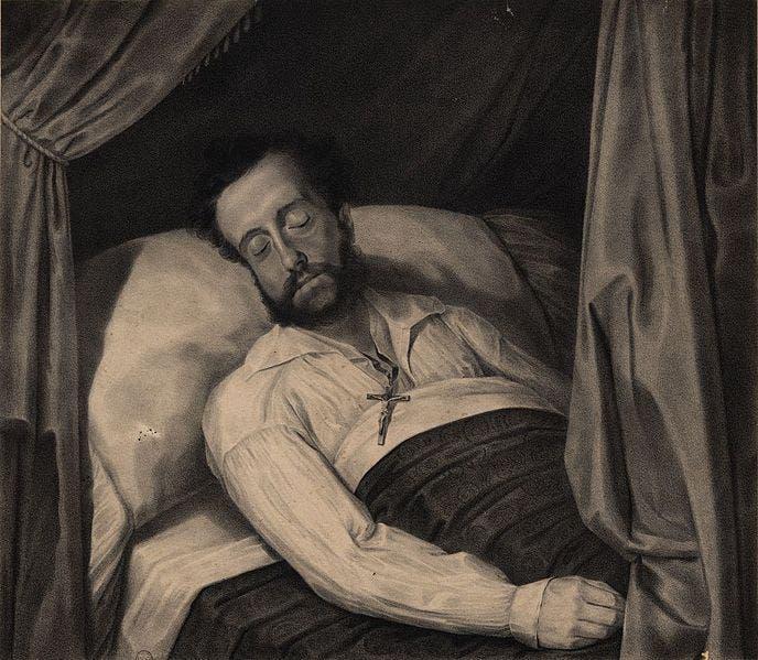 صورة لإمبراطور البرازيل بيدرو الأول وهو على فراش الموت سنة 1834