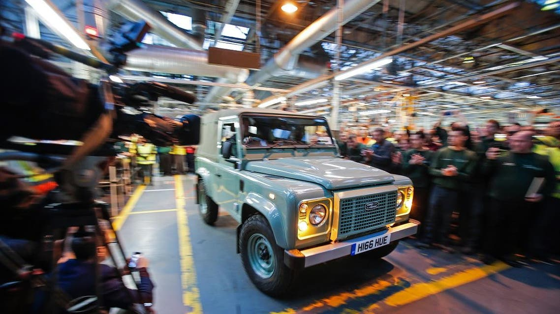 File photo of the Land Rover Defender vehicle to be produced by Jaguar Land Rover at its Solihull plant, central England, as it is driven off of the production line. (AFP)
