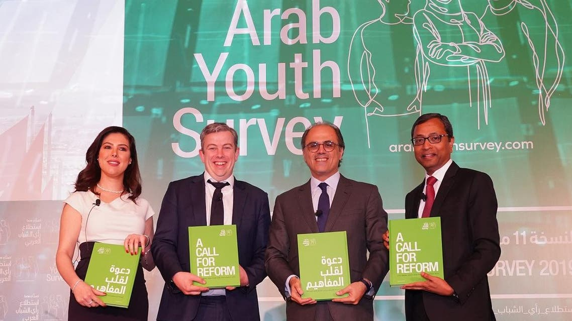 From Left to Right: May Bin Khadra, Broadcast Journalist; Rob Vance, Vice President – EMEA, PSB; Jihad Azour, Director Middle East and Central Asia Department, IMF; Sunil John, President – Middle East, ASDA'A BCW. (Supplied)
