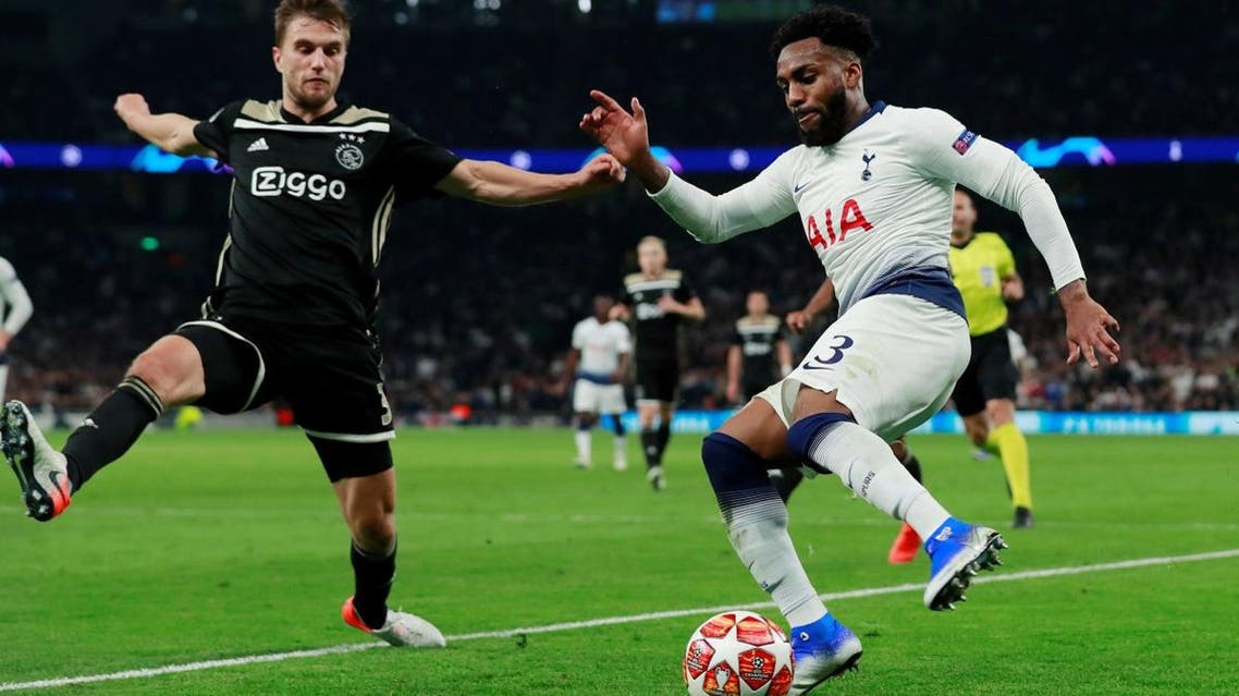 Tottenham's Danny Rose in action with Ajax's Joel Veltman  in the Champions League Semi Final First Leg  on April 30, 2019. (Reuters)