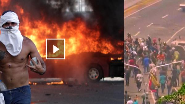 شاهد حرب الشوارع بفنزويلا والمدرعات تنقضّ على المدنيين