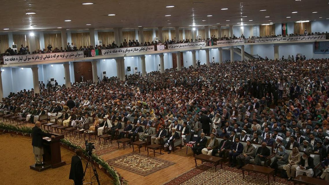 """In this file photo taken on April 29, 2019, Afghan people attend the first day of the """"loya jirga"""" (grand assembly) in Kabul. (AFP)"""