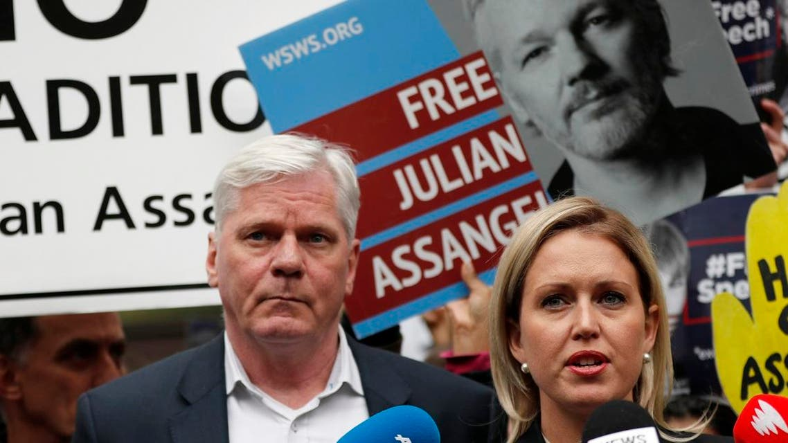 Kristinn Hrafnsson, Editor-in-chief of WikiLeaks and barrister Jennifer Robinson (right), address the media outside Westminster Magistrate Court in London on May 2, 2019. (AP)