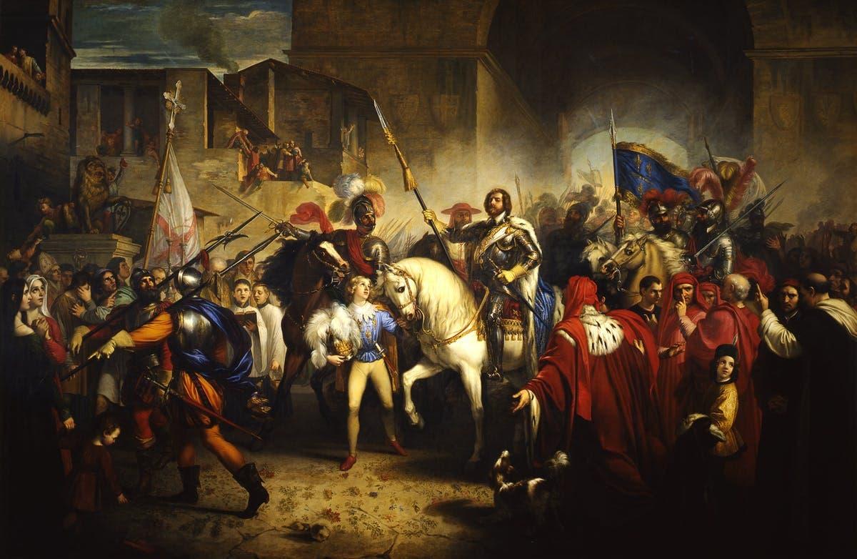 لوحة زيتية تجسد دخول ملك فرنسا شارل الثامن لفلورنسا