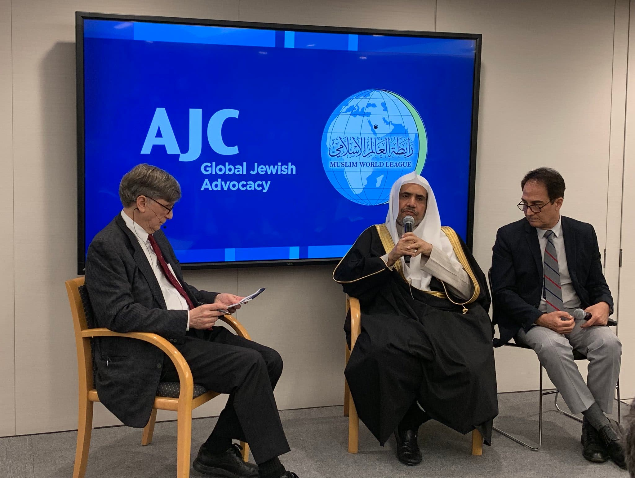 Al-Issa during the signing of a memorandum of understanding with AJC codifying the commitment of the two global institutions to further Muslim-Jewish understanding. (Photo courtesy: MWL)