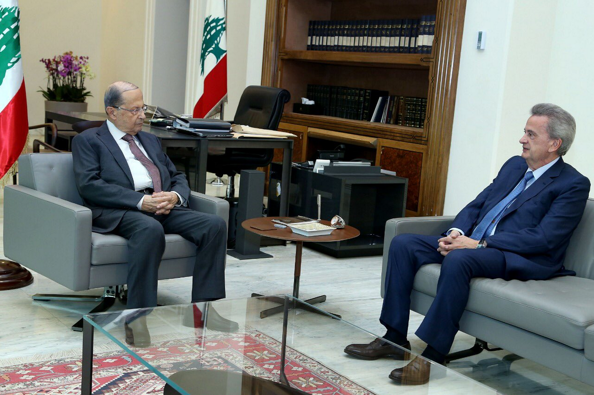 Lebanon's central bank governor Riad Salameh and Michel Aoun. (Twitter)