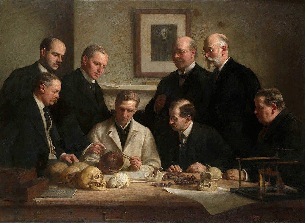 رسم تخيلي لعدد من العلماء البريطانيين خلال دراستهم لإنسان بيلتداون