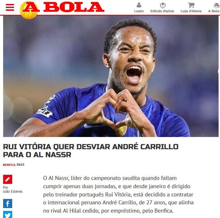 """الخبر الذي نشرته الصحيفة البرتغالية """"أبولا"""""""