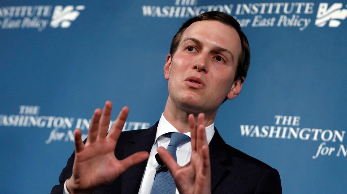 "Kushner during a discussion on ""Inside the Trump Administration's Middle East Peace Effort"" at a dinner symposium of the Washington Institute for Near East Policy in Washington May 2, 2019. (Reuters)"