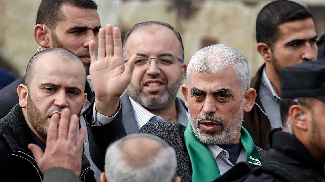 File photo of Hamas' leader in the Gaza Strip Yahya Sinwar (1st-R) during a rally in Gaza city. (AFP)