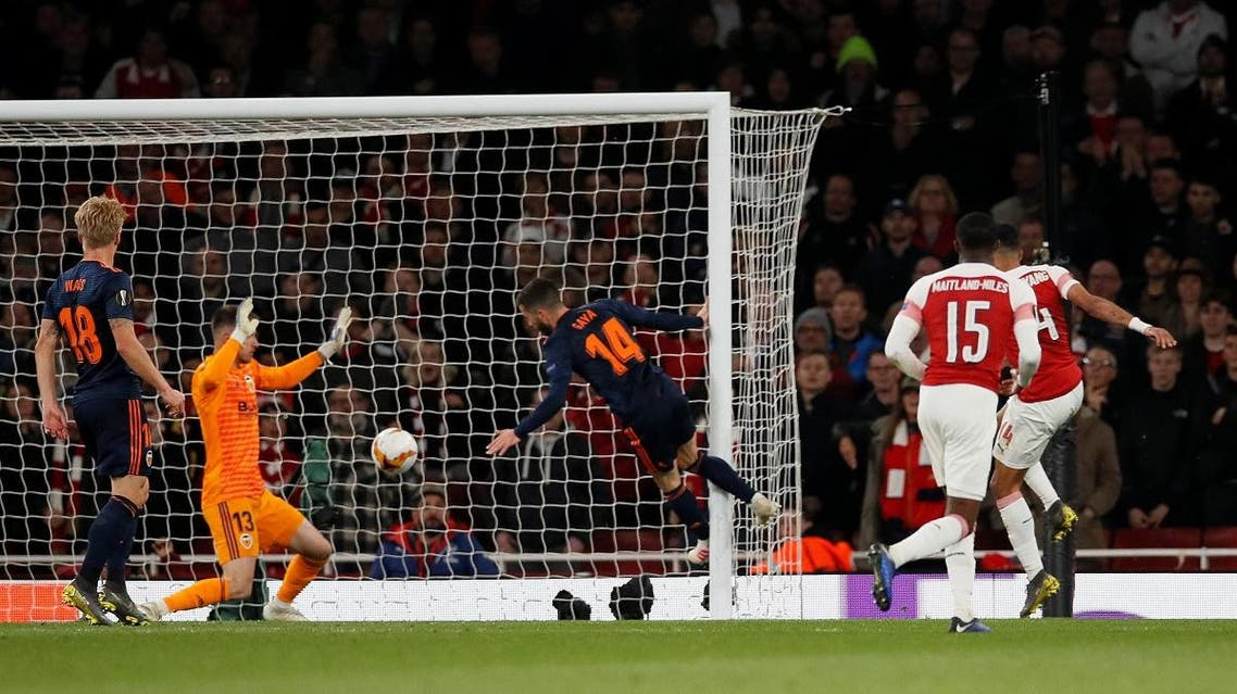 Arsenal's Pierre-Emerick Aubameyang scores their third goal against Valencia at the Emirates Stadium, London, on May 2, 2019. (Reuters)