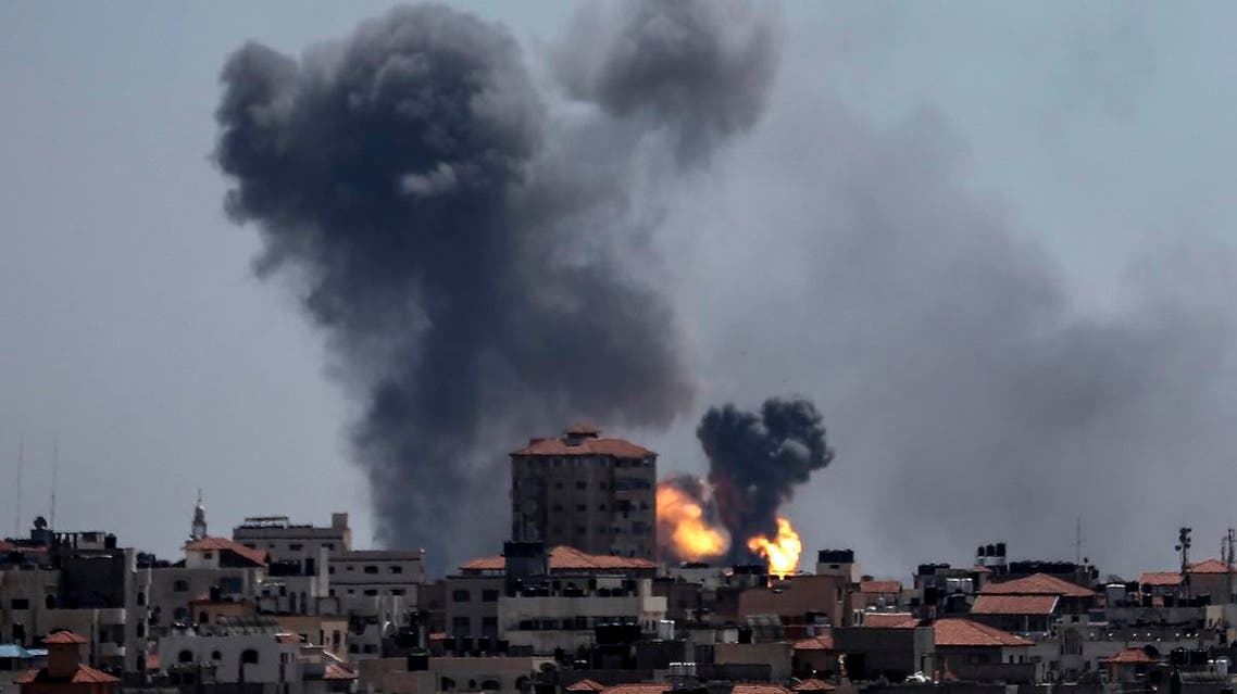 A picture taken from the Gaza Strip on May 4, 2019 shows smoke billowing following an airstrike by Israel in response to rockets fired by Palestinian militants. (AFP)