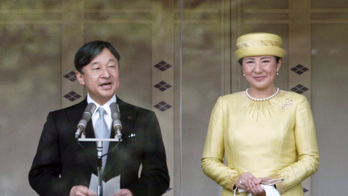 Japan's emperor Naruhito and his wife in his first public appearance (AP)