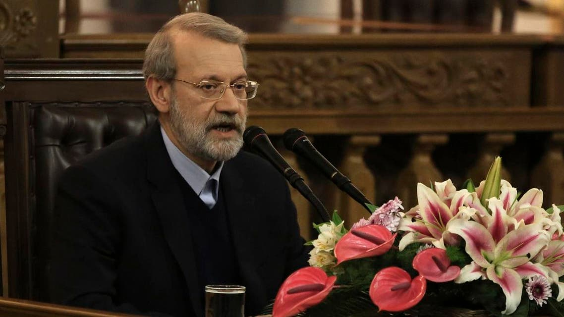 Iranian Parliament speaker Ali Larijani speaks during a press conference in the capital Tehran. (AFP)