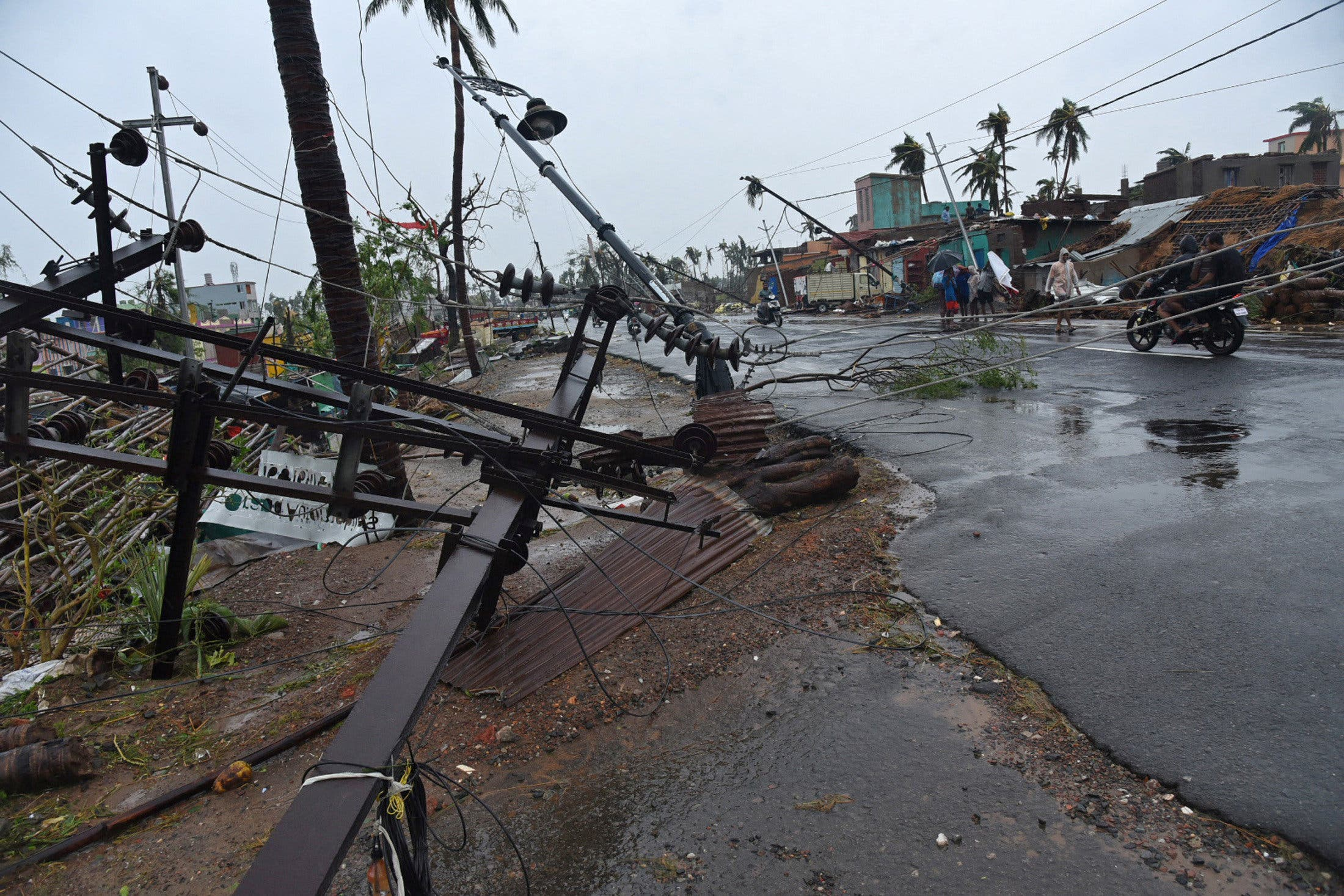 Fallen electric poles are pictured after Cyclone Fani hit Puri, india (reuters)