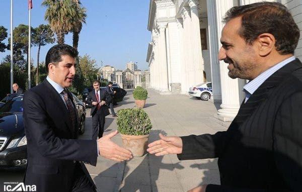 محمد جعفری صحرارودی یکی از قاتلان قاسملو در دیدار با نیچروان بارزانی در معیت یک هیئت دیپلماتیک در کردستان عراق