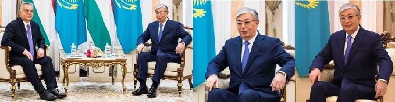 وجالسا عند استقباله رئيس وزراء المجر