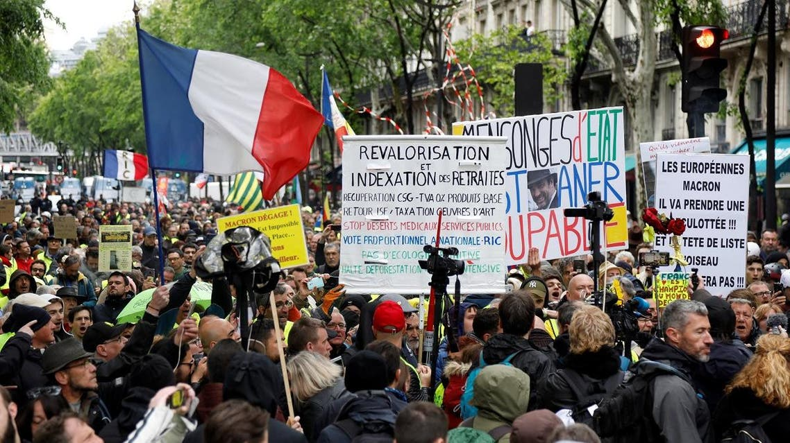 Protesters wearing yellow vests attend a demonstration in Paris on May 4, 2019. (Reuters)
