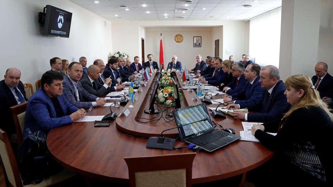 Representatives of Russian Ukranian Ukrtransnafta, Polish Pern and Belarusian Belneftekhim hold talks in Minsk on April 26, 2019. (Reuters)