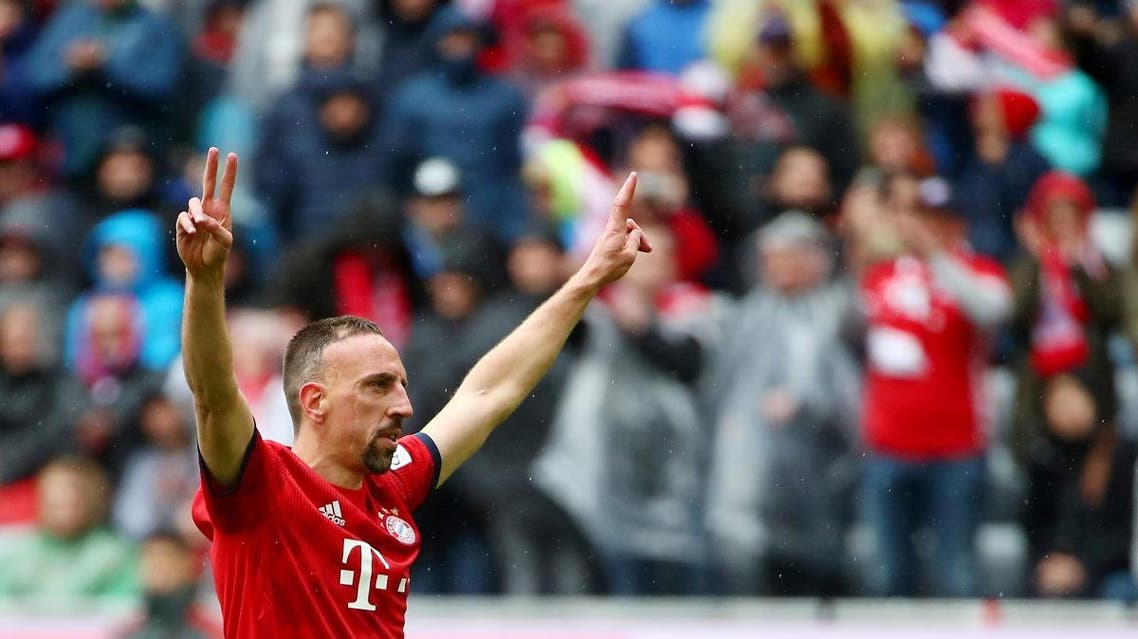 Bayern Munich's Franck Ribery celebrates scoring their third goal. (Reuters)