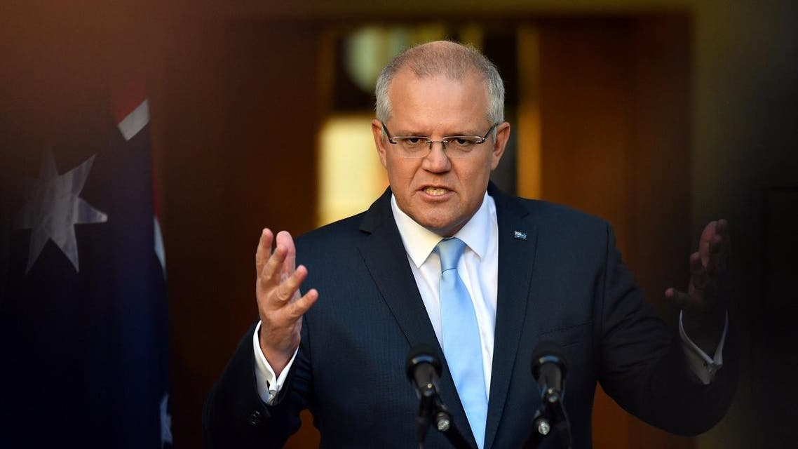 Prime Minister Scott Morrison speaks to the media during a press conference at Parliament House in Canberra, Australia. (Reuters)