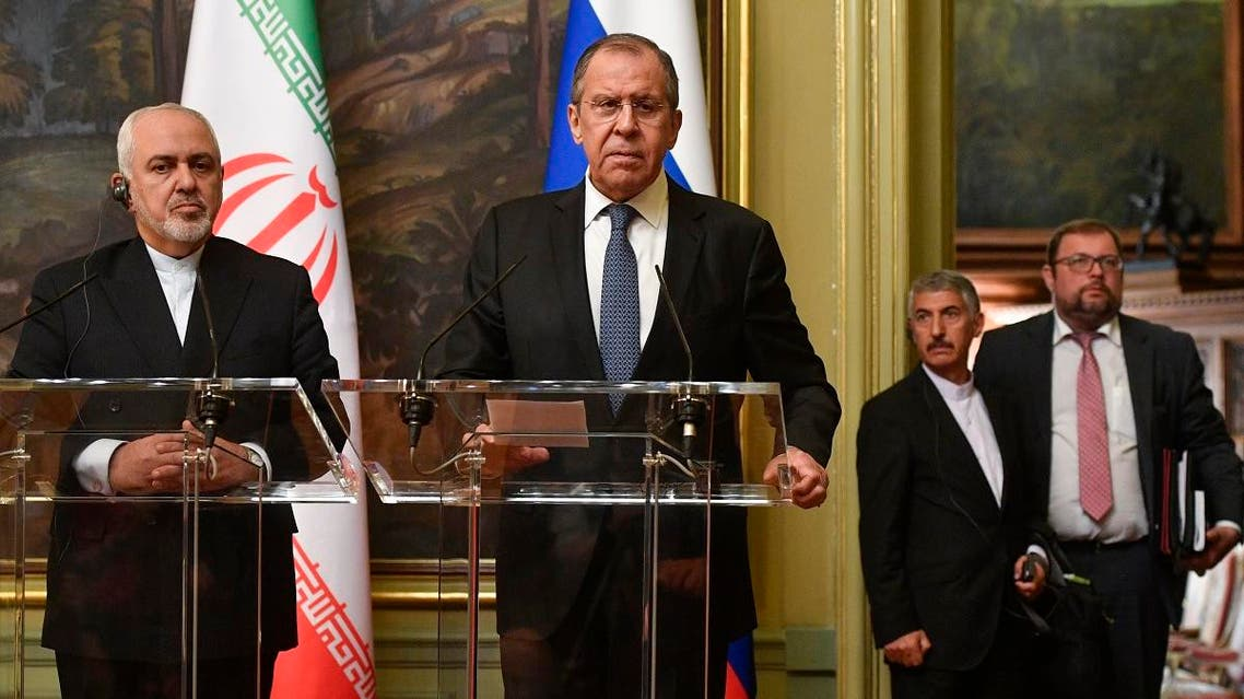 Russian Foreign Minister Sergei Lavrov and his Iranian counterpart Mohammad Javad Zarif give a joint press conference following their talks in Moscow on May 8, 2019. (AFP)