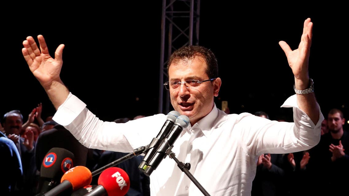 Ekrem Imamoglu addresses his supporters in Istanbul on May 6, 2019. (Reuters)