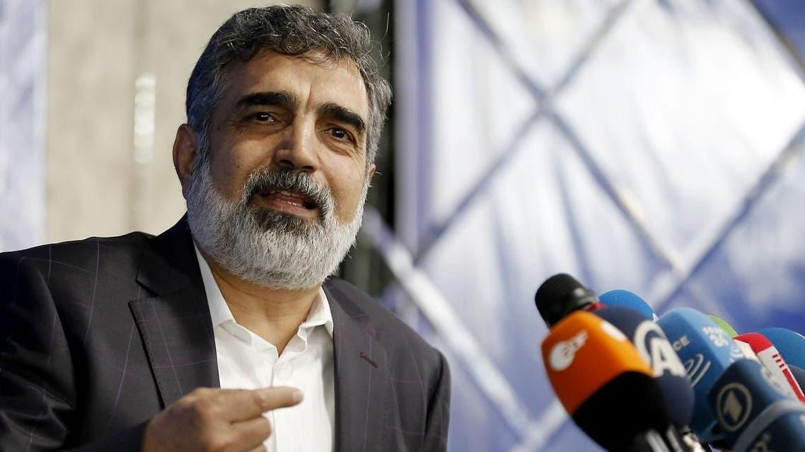 Spokesman of the Atomic Energy Organization of Iran (AEOI), Behrouz Kamalvandi answers the press in the capital Tehran on July 17, 2018. (AFP)