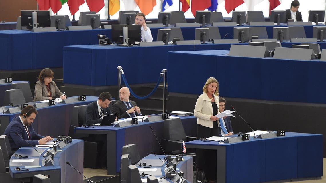 Federica Mogherini speaks during a debate on the consequences and EU's response to US President's withdrawal from the Iran nuclear deal in Strasbourg on June 12, 2018. (AFP)