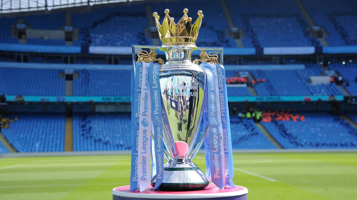 The Premier League trophy at Etihad stadium in Manchester on May 6, 2018. (AP)