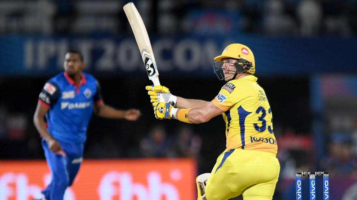 Chennai Super Kings cricketer Shane Watson plays a shot during the 2019 Indian Premier League (IPL) second qualifier Twenty20 cricket match against Delhi Capitals in Visakhapatnam on May 10, 2019. (AFP)