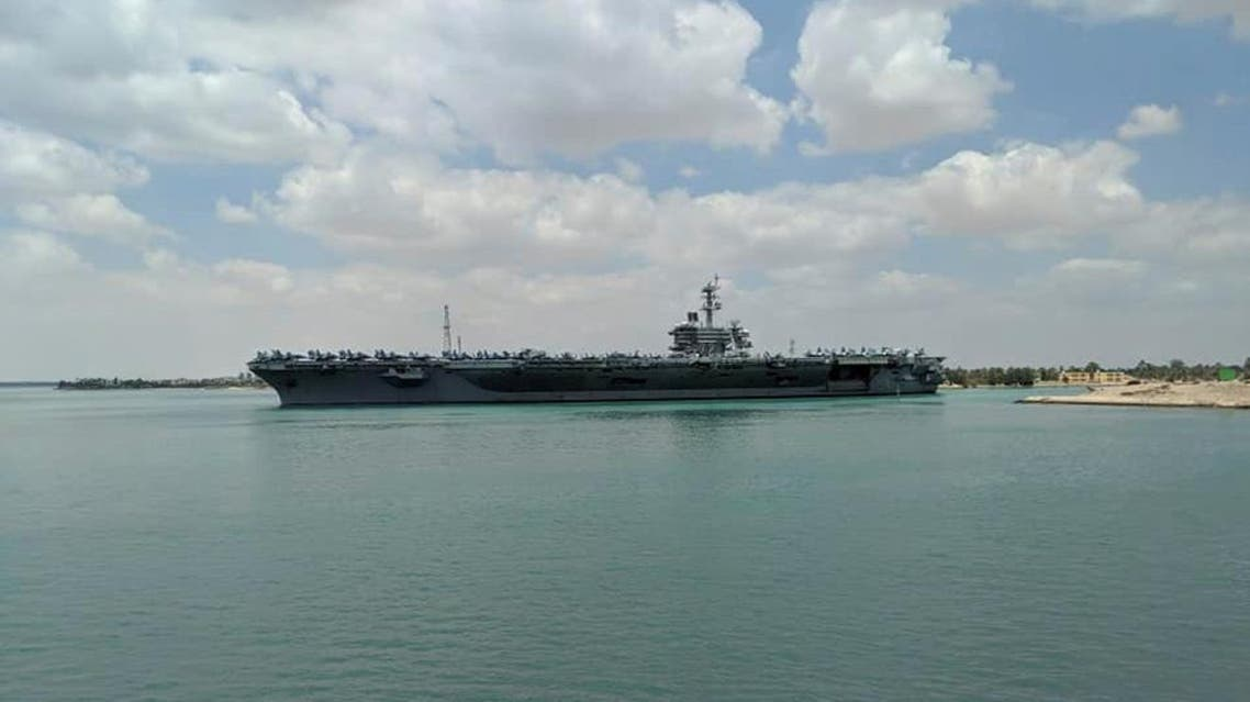 US aircraft carrier the USS Abraham Lincoln is pictured while it travels through the Suez Canal in Egypt May 9, 2019. (Reuters)