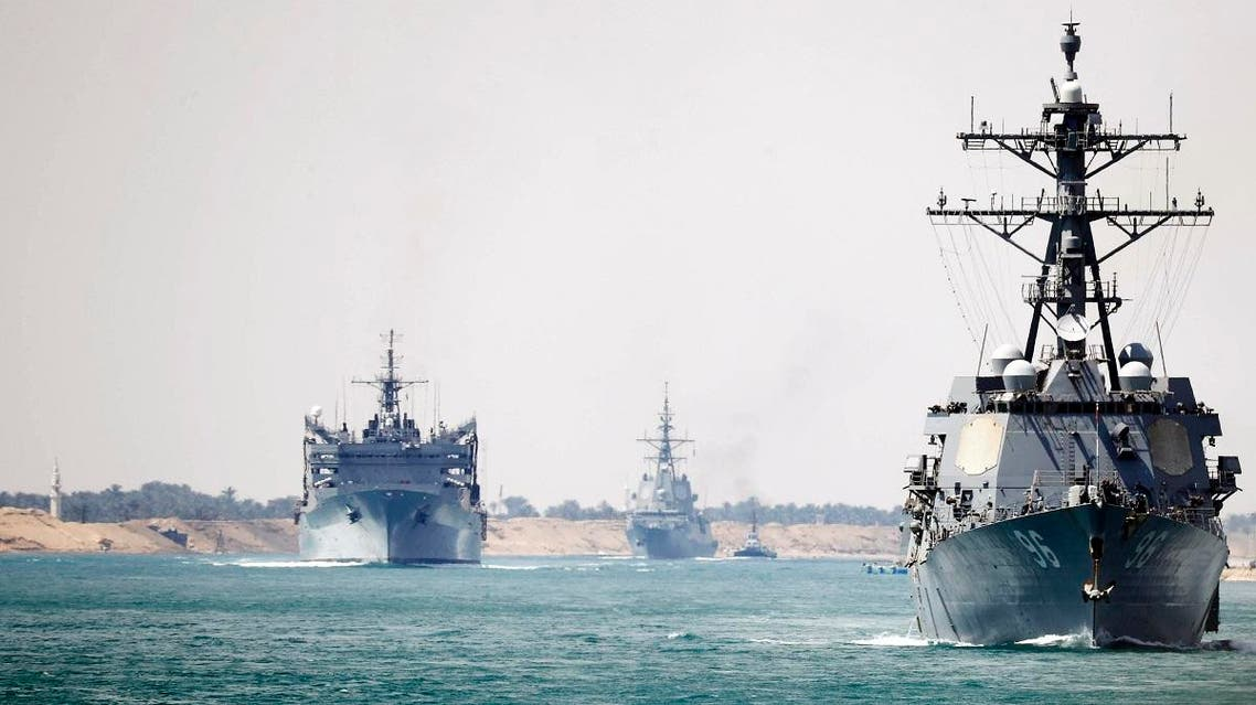 The Abraham Lincoln Carrier Strike Group transits the Suez Canal, Thursday, May 9, 2019. (AP)