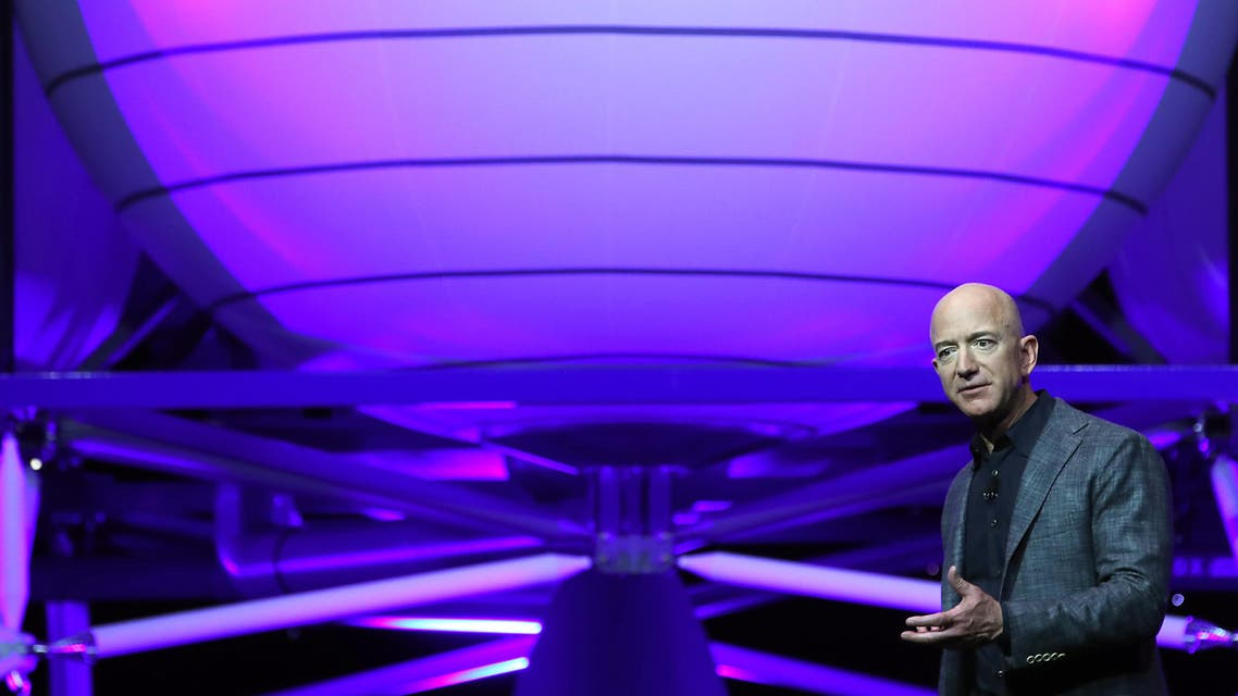 Jeff Bezos, owner of Blue Origin, introduces a new lunar landing module called Blue Moon during an event at the Washington Convention Center, May 9, 2019 in Washington, DC. (AFP)