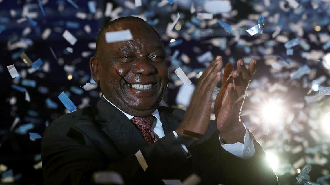 South African President Cyril Ramaphosa celebrates victory for his African National Congress (ANC) party at the announcement of results of the country's parliamentary and provincial elections in Pretoria, South Africa, May 11, 2019. (Reuters)