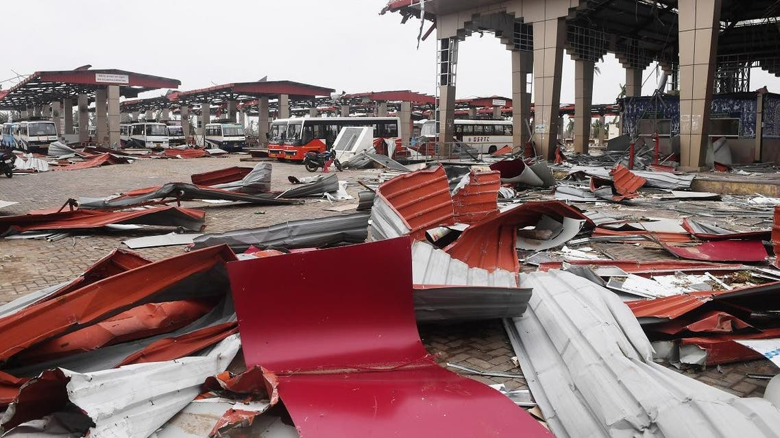 Debris litters the floor at a bus stand in Puri on May 5, 2019, after Cyclone Fani swept through the area. (AFP)