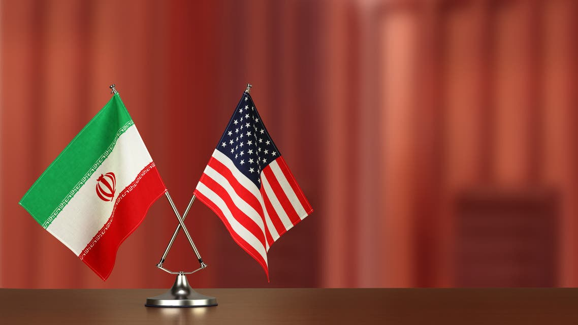 Flag of the United States of America and Iran - Stock image