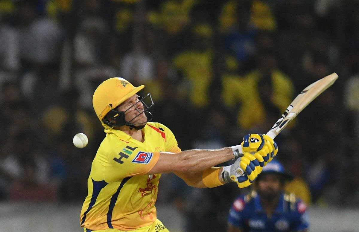 Chennai Super Kings cricketers Shane Watson plays a shot during the 2019 IPL Twenty20 final cricket match between Mumbai Indians and Chennai Super Kings in Hyderabad on May 12, 2019. (AFP)