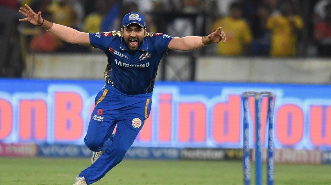 Mumbai Indians cricket captain Rohit Sharma celebrates after winning the 2019 IPL Twenty20 final cricket match between Mumbai Indians and Chennai Super Kings in Hyderabad on May 12, 2019. (AFP)