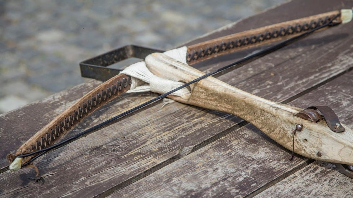 Old traditional hand made crossbow - Stock image