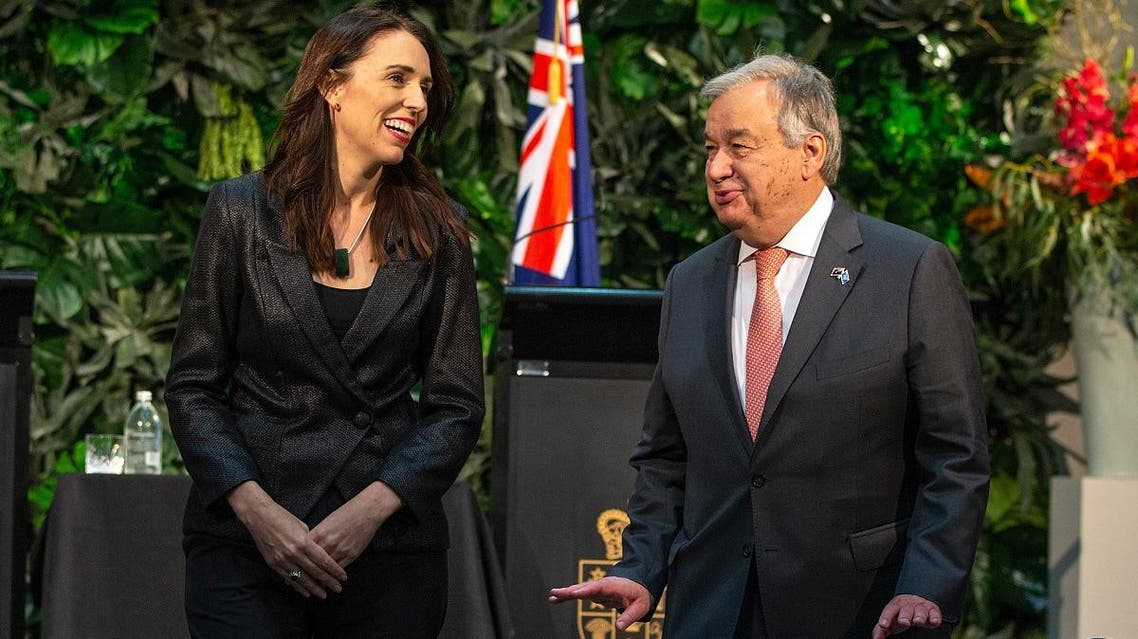 United Nations Secretary-General Antonio Guterres (R) and New Zealand's Prime Minister Jacinda Ardern depart after taking part in a joint press conference during his visit to Government House in Auckland on May 12, 2019. (AFP)