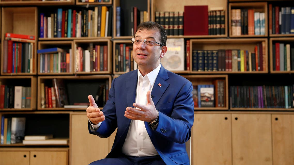 FILE PHOTO: Ekrem Imamoglu of the main opposition Republican People's Party (CHP), who was elected mayor after the March 31 elections, addresses his supporters after the High Election Board (YSK) decided to re-run the mayoral election, in Istanbul, Turkey, May 6, 2019. REUTERS/Murad Sezer/File Photo