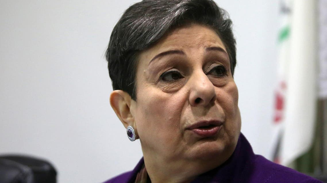 Hanan Ashrawi addresses a press conference in Ramallah on February 24, 2015. (AFP)