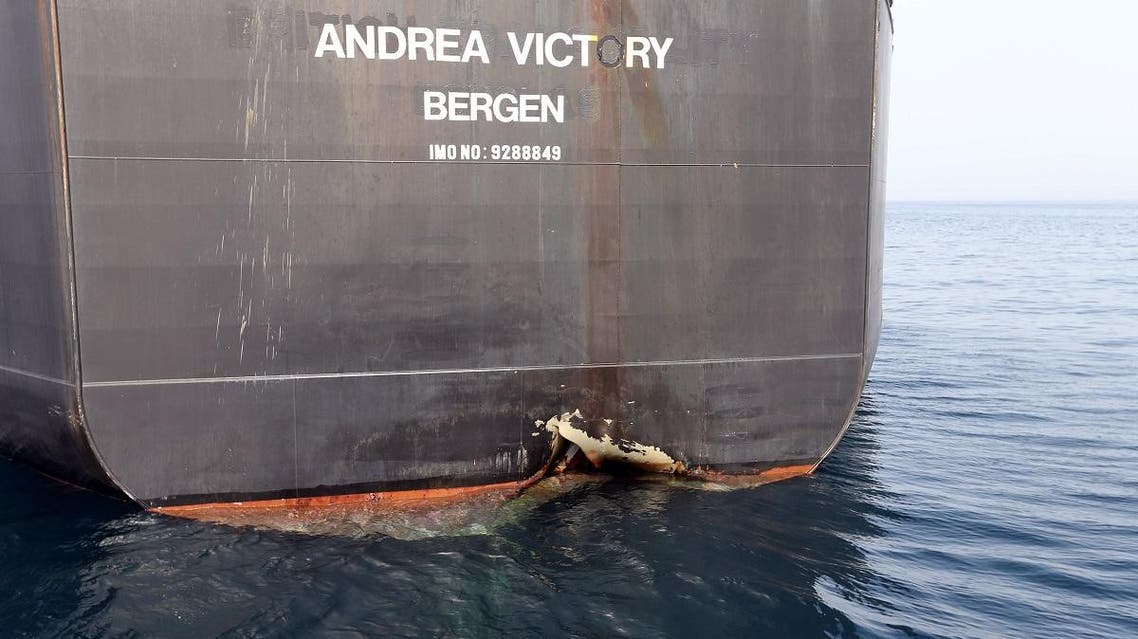A damaged Andrea Victory ship is seen off the Port of Fujairah, United Arab Emirates. (Reuters)