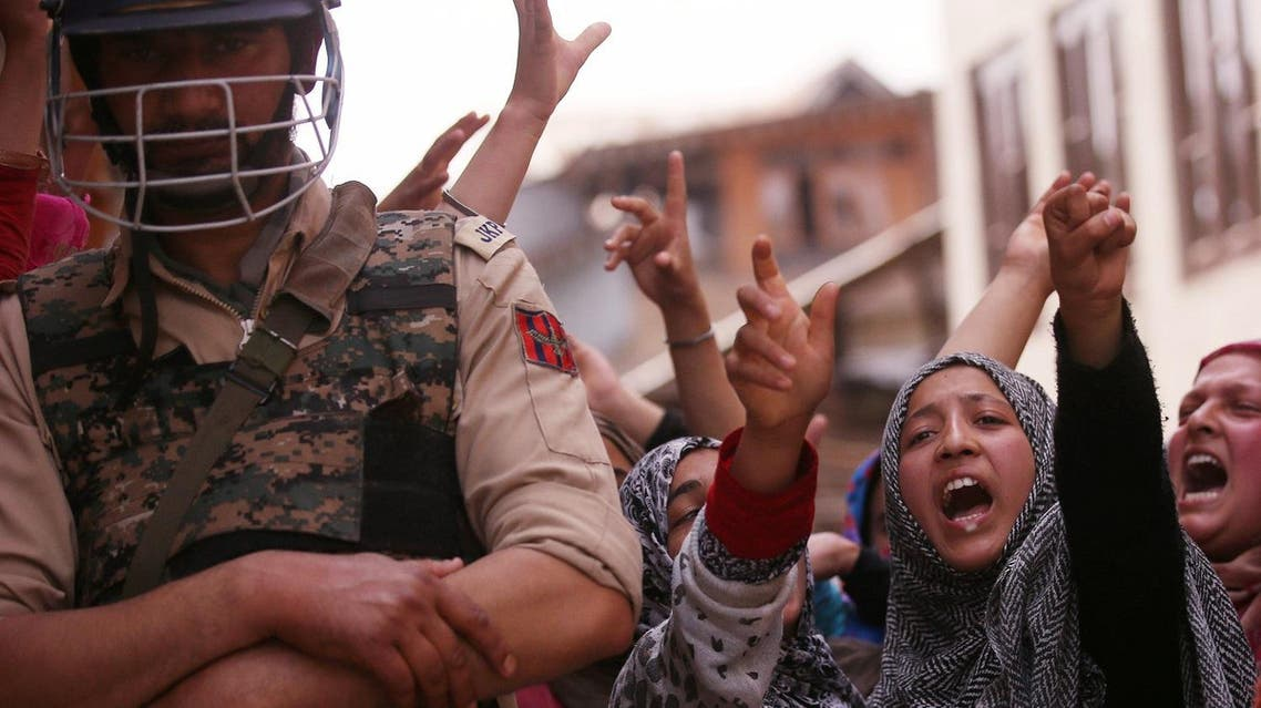 Kashmiri women shout slogans during a protest against the rape of a three-year old girl in Bandipora district last week, in Srinagar May 13, 2019