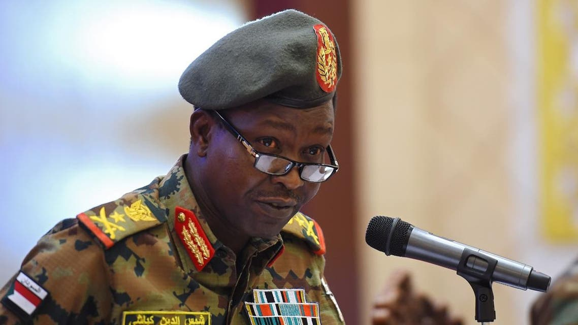 Spokesman of the Sudan's Transitional Military Council Lieutenant General Shamseddine Kabbashi speaks during a press conference in Khartoum on May 7, 2019. (AFP)