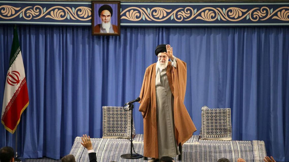 Iran's Supreme Leader Ayatollah Ali Khamenei waves as he delivers a speech during a meeting with teachers in Tehran. (Reuters)